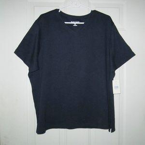 KAREN SCOTT Navy Blue Short Sleeve Top Size 2X NWT